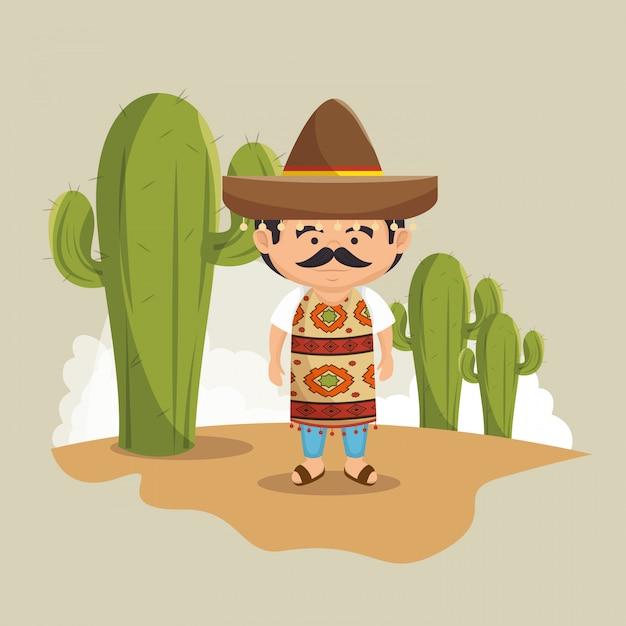 Conception De Robe Traditionnelle Chapeau Mexicain Homme Vecteur gratuit