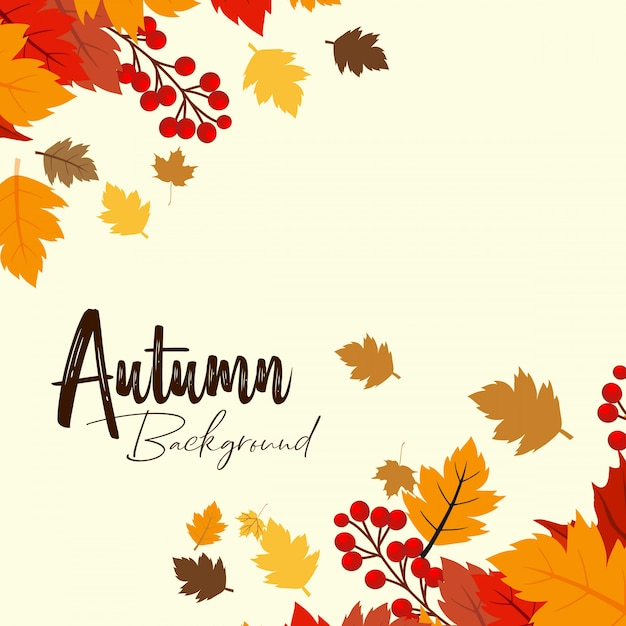Conception de saison d'automne avec vecteur de fond clair Vecteur gratuit