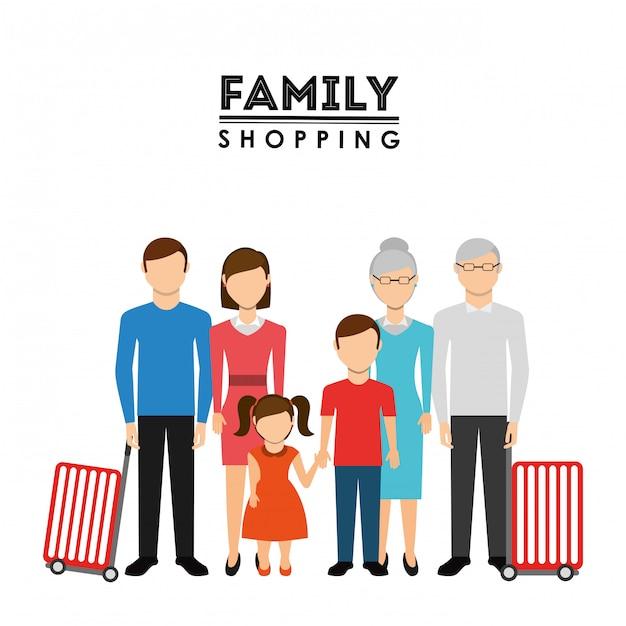Conception de shopping en famille Vecteur gratuit