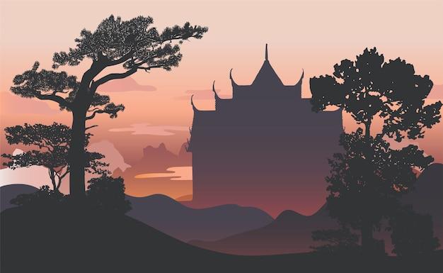 Conception de silhouette silhouette wat benjamabhopit Vecteur gratuit
