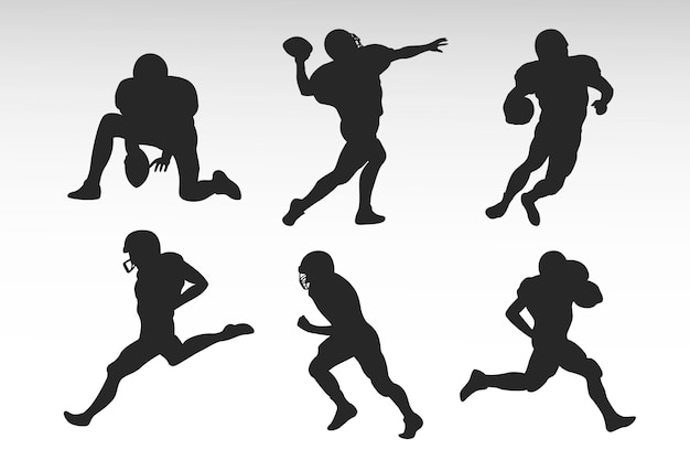 Conception De Silhouettes De Football Américain Vecteur Premium