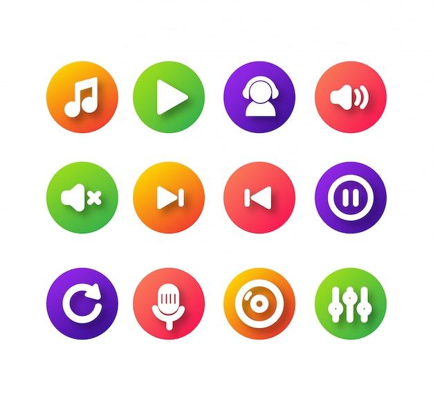 Conception simple d'icône de musique Vecteur Premium