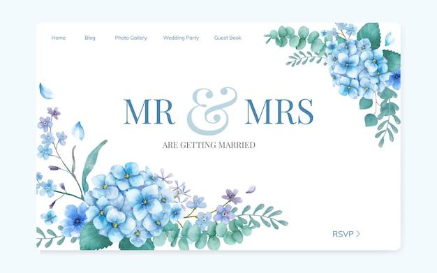 Conception de site d'invitation de mariage floral Vecteur gratuit