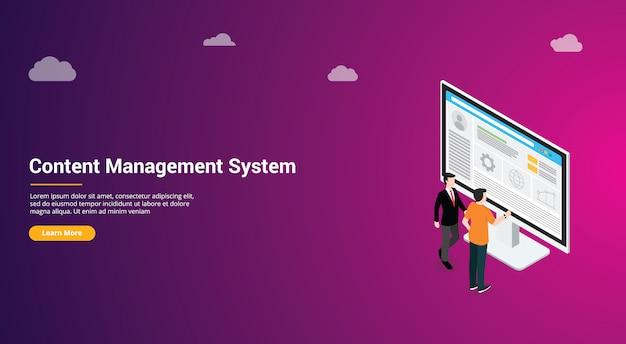 Conception De Site Web Du Système De Gestion De Contenu Cms Vecteur Premium