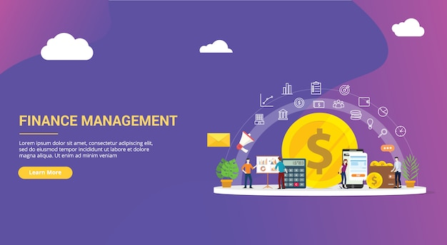 Conception de site web de gestion financière Vecteur Premium