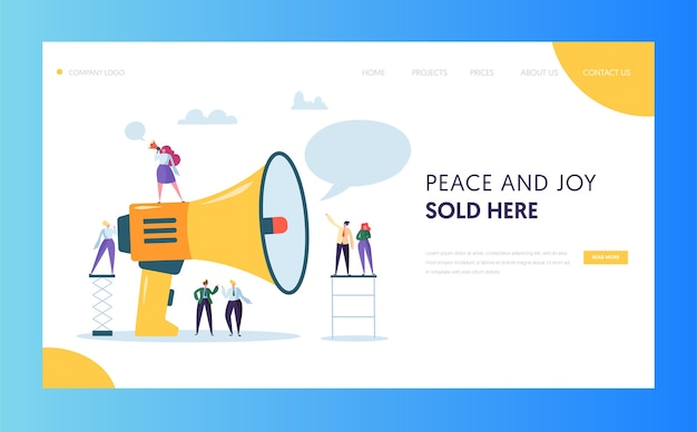 Conception De Site Web De Page De Destination De Marketing De Masse Publicitaire Vecteur Premium