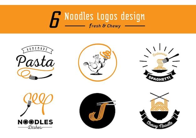 Conception De Six Logos De Nouilles Avec Des Nouilles Jaunes Et Moelleuses Vecteur Premium