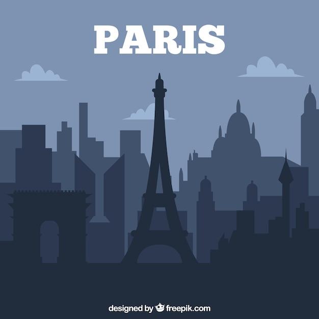 Conception De Skyline Paris Foncé Vecteur gratuit