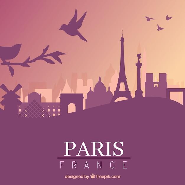 Conception De Skyline Pourpre De Paris Vecteur gratuit