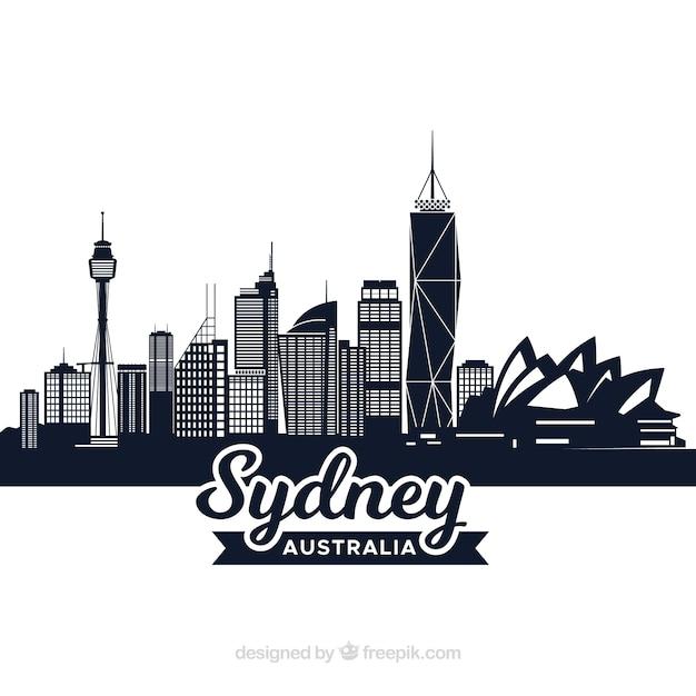 Conception De Skyline Sombre De Sydney Vecteur gratuit