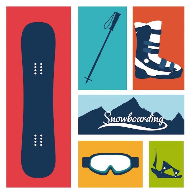 Conception de snowboard, illustration vectorielle. Vecteur Premium