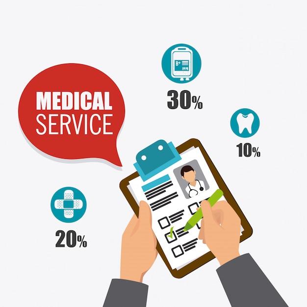 Conception de soins médicaux. Vecteur Premium