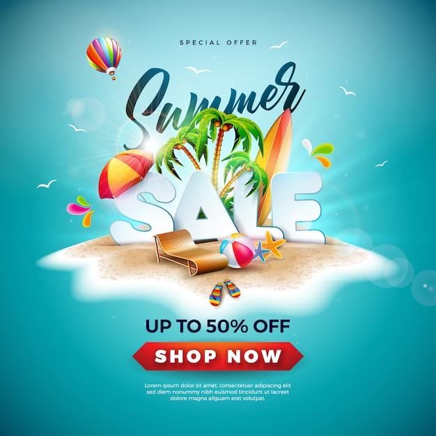 Conception de soldes d'été avec ballon de plage et palmier exotique Vecteur Premium