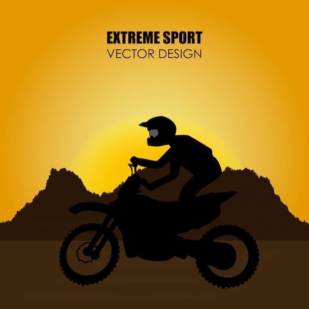 Conception de sport extrême au cours de l'illustration vectorielle fond paysage Vecteur Premium