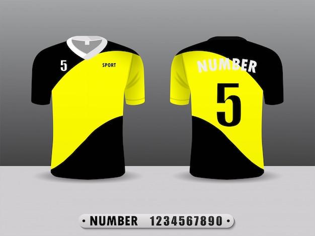 Conception De Sport T-shirt Club De Football Jaune Et Noir. Vecteur Premium