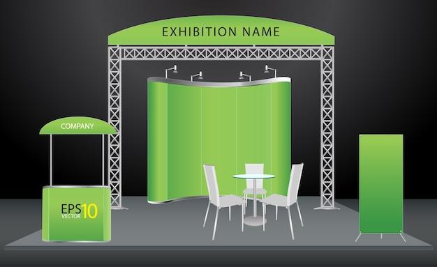 Conception de stand d'exposition de vecteur Vecteur Premium