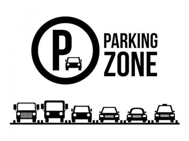 Conception de stationnement sur l'illustration vectorielle fond blanc Vecteur Premium
