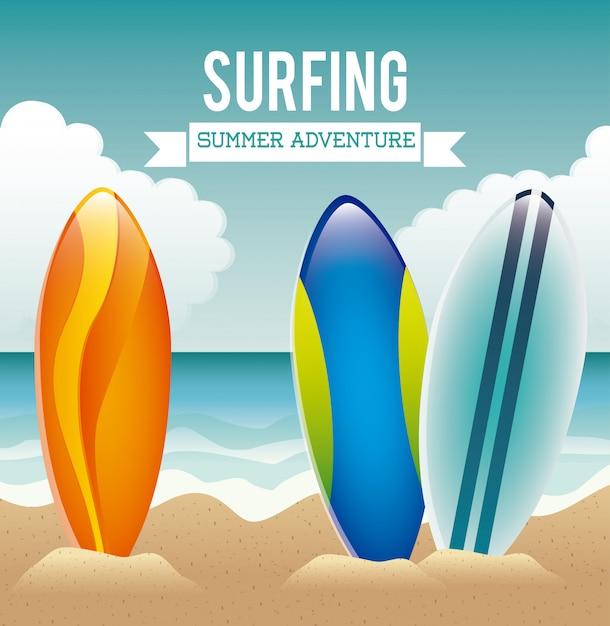 Conception de surf Vecteur Premium