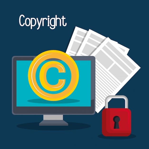 Conception de symbole de copyright Vecteur Premium
