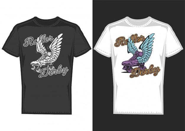 Conception De T-shirt Sur 2 T-shirts Avec Des Affiches De Rouleaux Avec Des Ailes. Vecteur gratuit