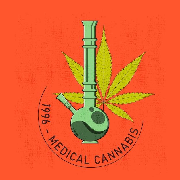 Conception De T-shirt Ou D'affiche Avec Illustration De Cannabis Et D'un Bang Vecteur Premium