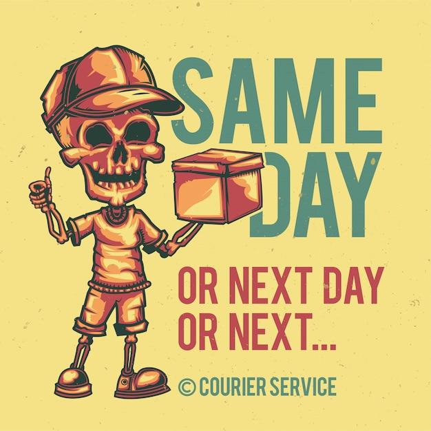 Conception De T-shirt Ou D'affiche Avec Illustration D'un Courrier. Vecteur gratuit