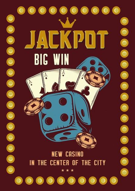 Conception De T-shirt Ou D'affiche Avec Illustration Des éléments Du Casino: Cartes, Jetons Et Roulette. Vecteur gratuit