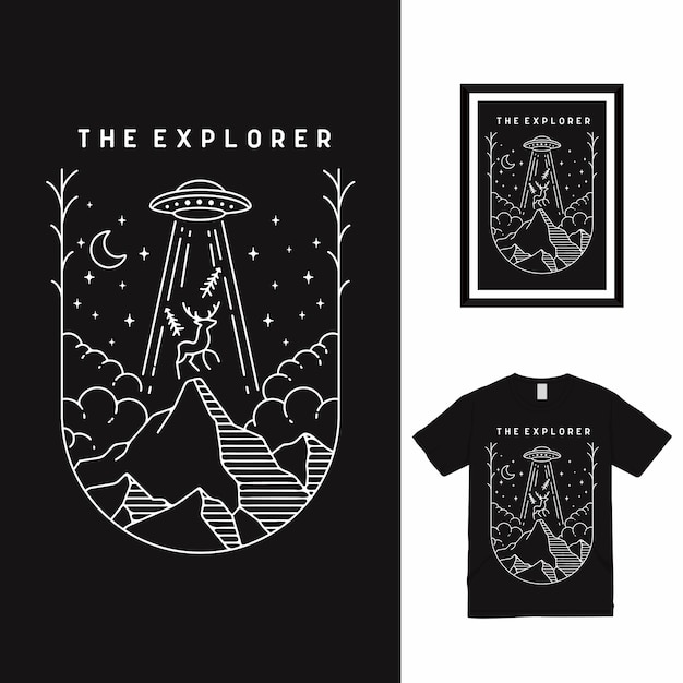 La Conception De T-shirt D'art De Ligne De L'explorateur Vecteur Premium