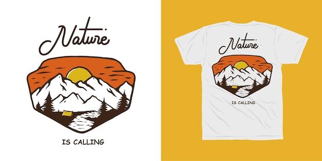 Conception De T-shirt Aventure Camping En Montagne Vecteur Premium