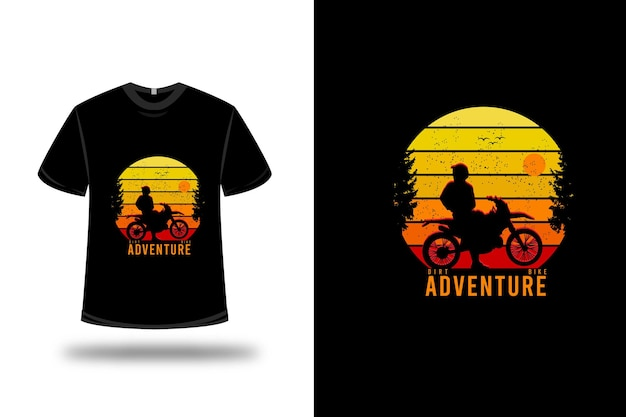 Conception De T-shirt. Aventure En Dirt Bike En Jaune Orange Et Rouge Vecteur Premium