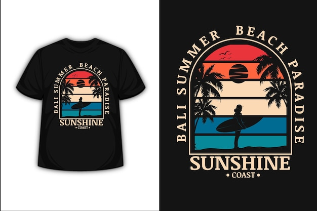 Conception De T-shirt Avec Bali Summer Beach Paradise Sunshine Coast En Orange Crème Et Bleu Vecteur Premium