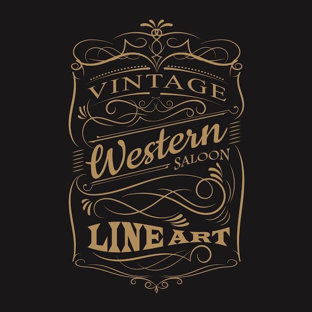 Conception de t-shirt cadre vintage typographie étiquette occidentale dessiné à la main Vecteur Premium
