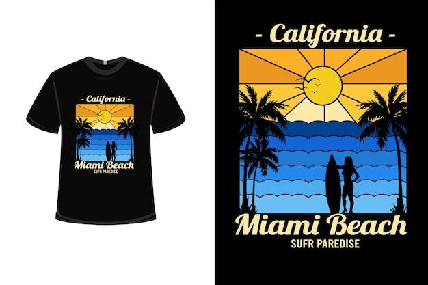 Conception De T-shirt Avec California Miami Beach Surf Paradise En Dégradé Jaune Et Dégradé Bleu Vecteur Premium