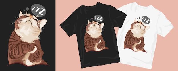 Conception De T-shirt De Chat Endormi Vecteur Premium