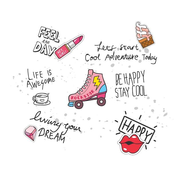 Conception de t-shirt cool dans le style de doodle avec des correctifs et des citations manuscrites Vecteur Premium