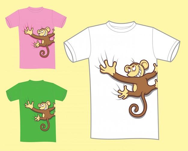 Conception de t-shirt de dessin animé de singe Vecteur Premium