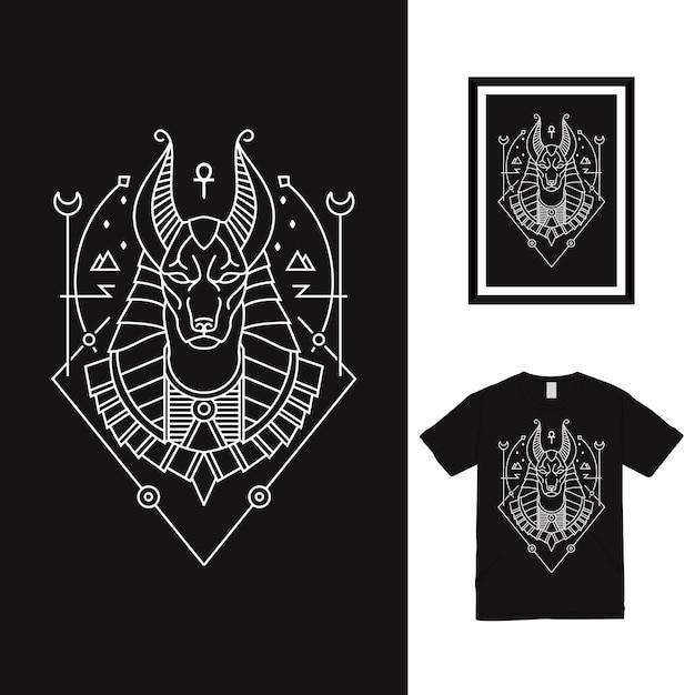Conception De T-shirt Horus Line Art Vecteur Premium