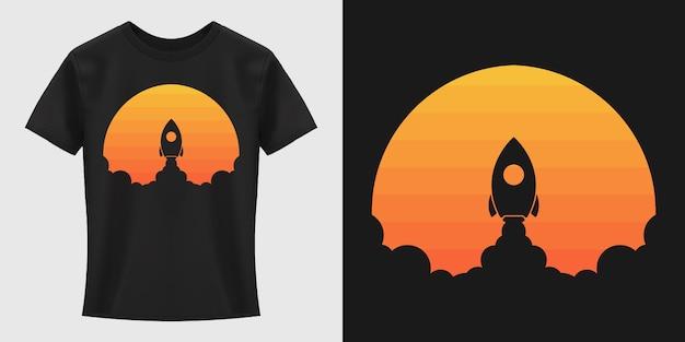 Conception De T-shirt De Lancement De Fusée Vecteur Premium