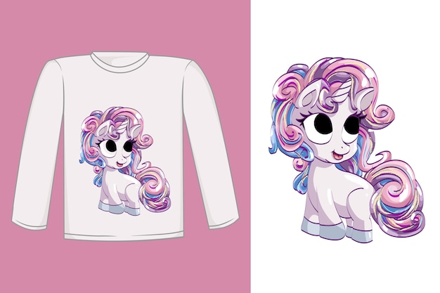 Conception De T-shirt Licorne Rose Mignonne Vecteur Premium