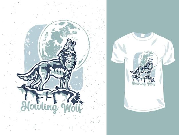 Conception De T-shirt Minimaliste Loup Hurlant Vecteur Premium