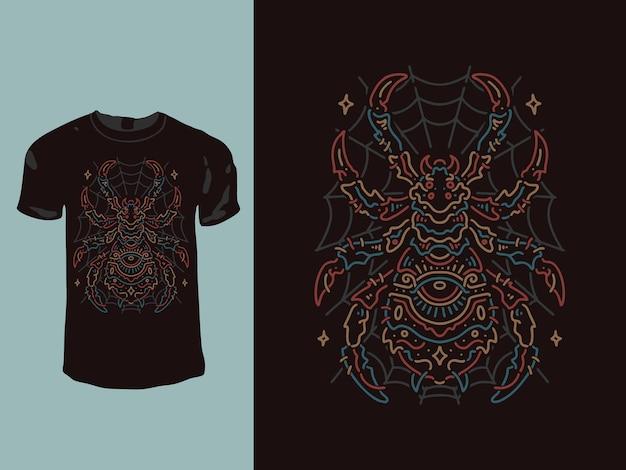 Conception De T-shirt Monoline à Géométrie D'araignée Vecteur Premium