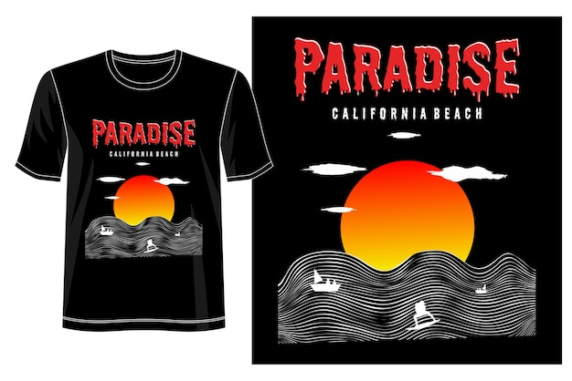 Conception De T-shirt Paradis Vecteur Premium