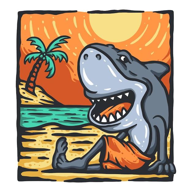 Conception De T-shirt De Requin De Dessin Animé Vecteur Premium