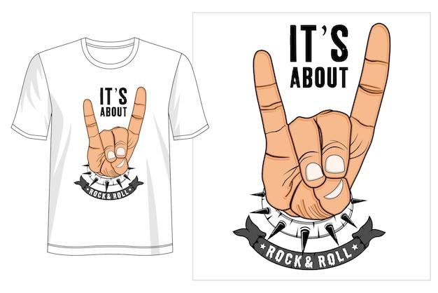 Conception De T-shirt Rock Nd Roll Vecteur Premium
