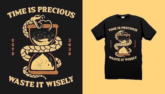 Conception De T-shirt Sablier Et Serpent Vecteur Premium