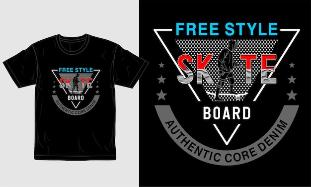 Conception De T-shirt Skateboart Vecteur Premium