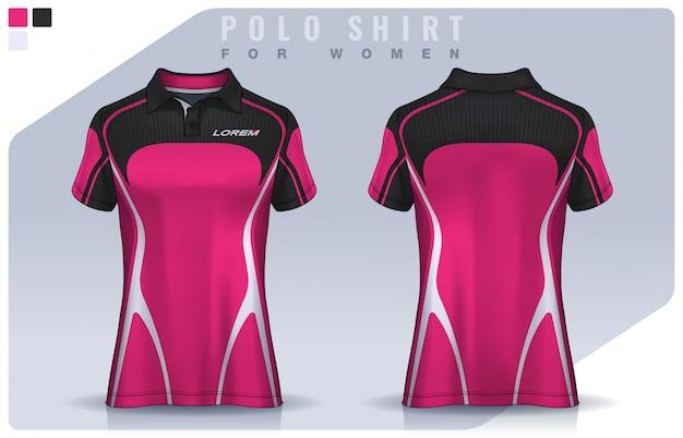 Conception De T-shirt Sport Pour Femmes, Maillot De Football Pour Club De Football. Modèle D'uniforme De Polo. Vecteur Premium
