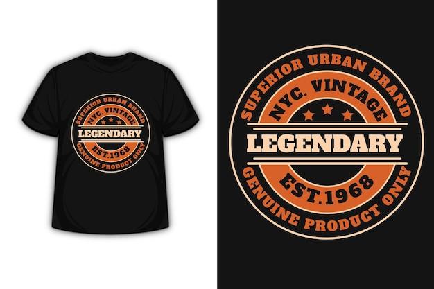 Conception De T-shirt Avec Typographie Vintage New York City En Orange Et Crème Vecteur Premium