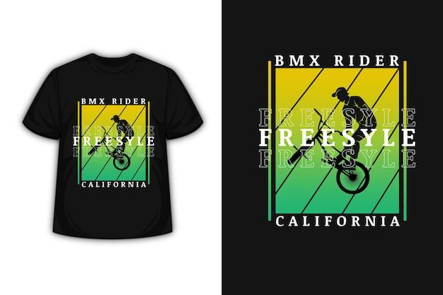 Conception De T-shirt Avec Vélo Motocross Freestyle California En Jaune Et Vert Vecteur Premium