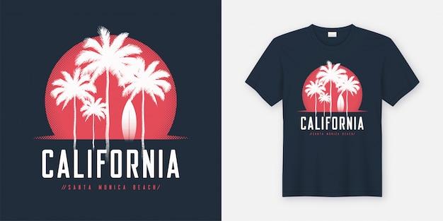 Conception De T-shirt Et Vêtements California Santa Monica Beach, Typogr Vecteur Premium